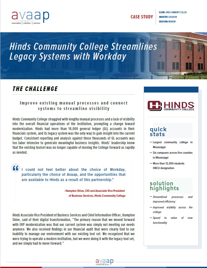 Hinds Community College Streamlines Legacy Systems with Workday